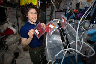NASA astronaut Christina Koch handles media bags for the BioFabrication Facility (BFF)